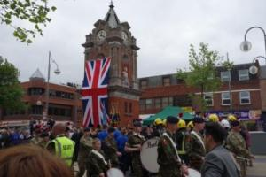 Crowds gather at the Clock Tower for the unveilling